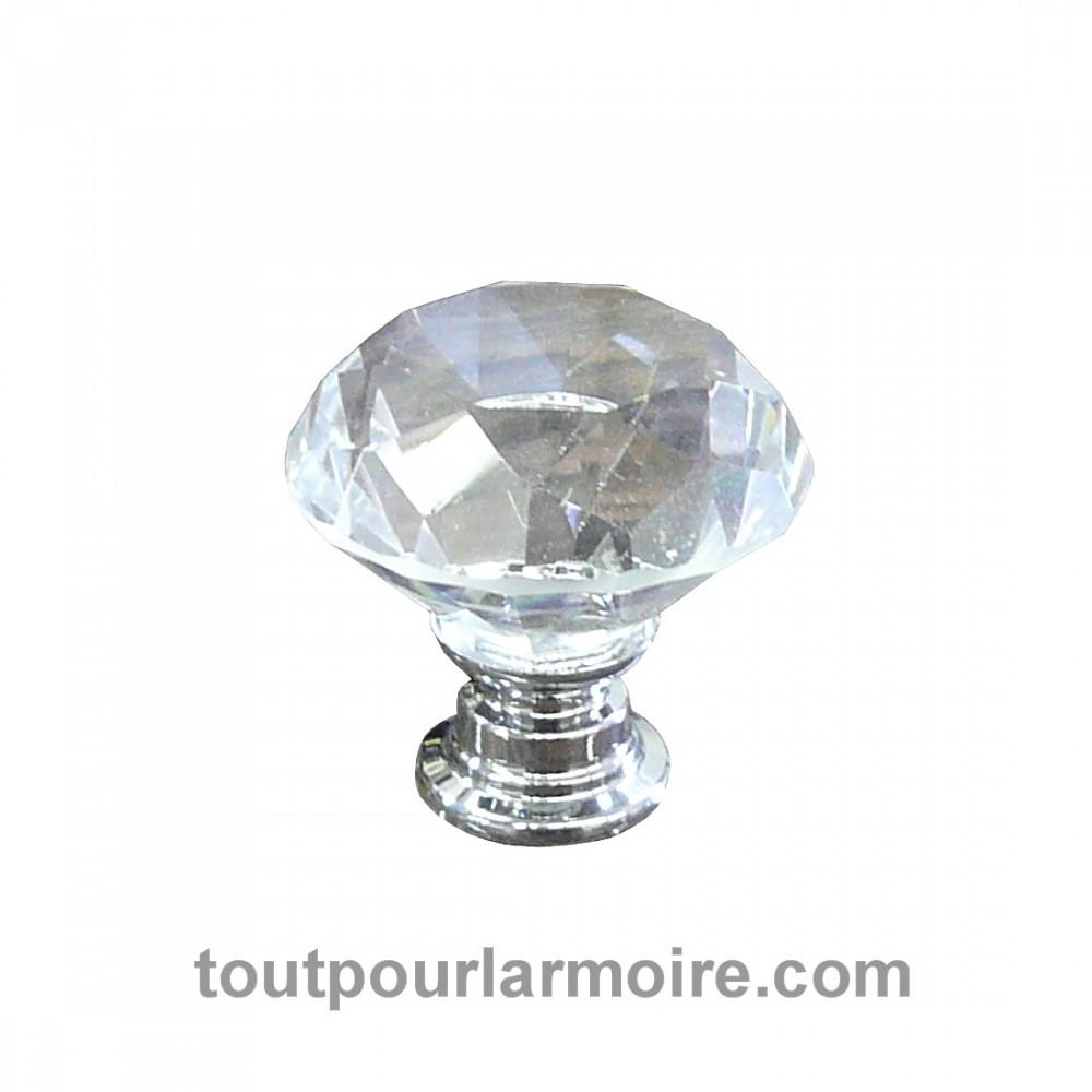 Bouton cristal armoire cuisine meuble verre transparent Bouton cristal meuble cuisine