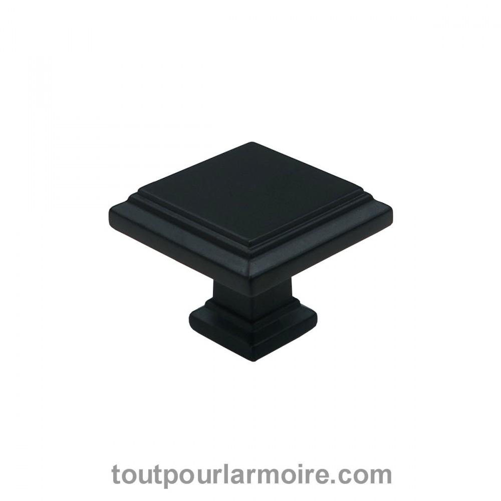 bouton pour armoire meuble salle de bain carr noir satin milano. Black Bedroom Furniture Sets. Home Design Ideas