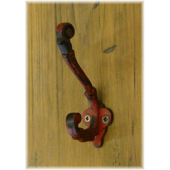 Petit Crochet Rouge Industriel en Fonte
