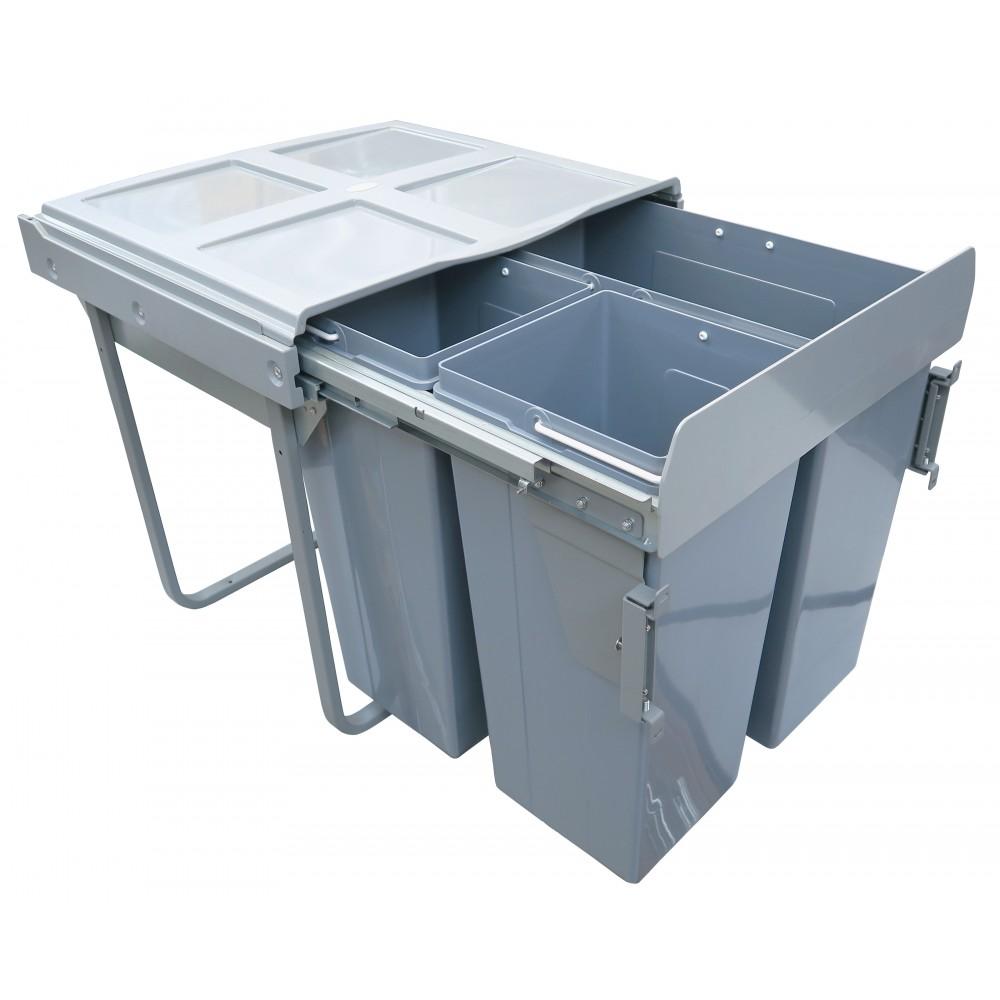 grosse poubelle armoire de cuisine rangement du bas centre d chet recyclage compost 2x17 1x34. Black Bedroom Furniture Sets. Home Design Ideas