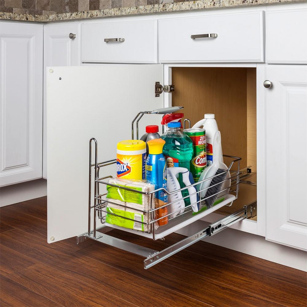 Rangement coulissant amovible produit nettoyage cuisine armoire tiroir - Rangement pour vis et clous ...